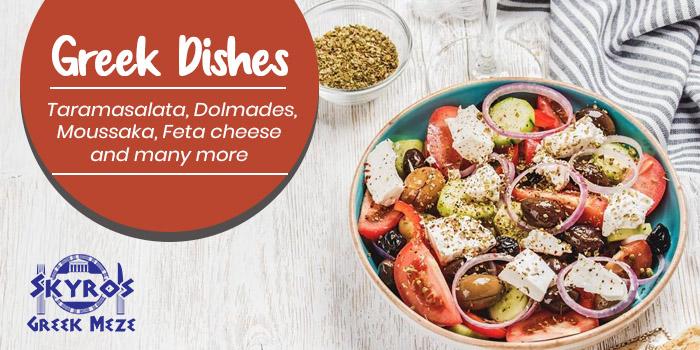 Greek Dishes - Taramasalata, Dolmades, Moussaka, Feta cheese and many more
